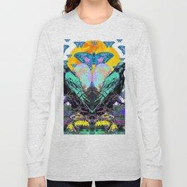 SURREAL BIRDS, BLUE BUTTERFLIES & GOLDEN MOON Long Sleeve T-shirt