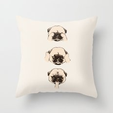 No Evil Pug Throw Pillow