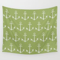 anchors Wall Tapestries featuring Nautical Anchors (Boat Anchors) - Green Gray by Strawberry and Hearts