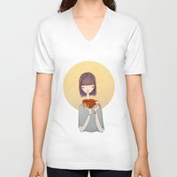 coffee V-neck T-shirts featuring coffee by Renia