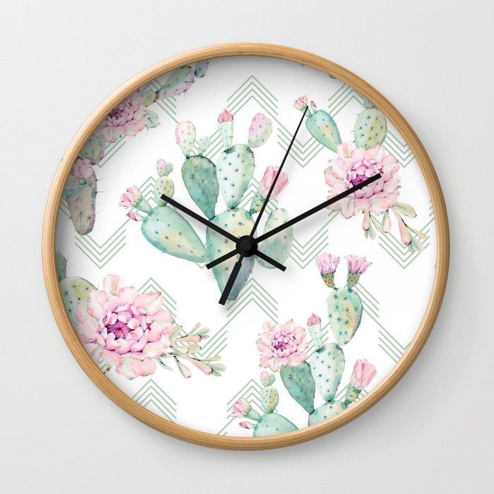 Cactus Chevron Southwestern Watercolor Wall Clock