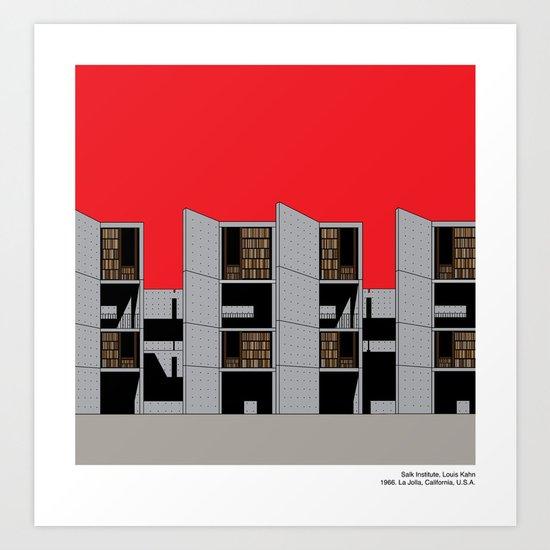 Modern Architecture Prints salk institute, louis kahn - modern architecture series art print