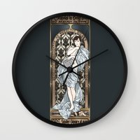 scandal Wall Clocks featuring A Scandal in Belgravia - Mucha Style by Alessia Pelonzi