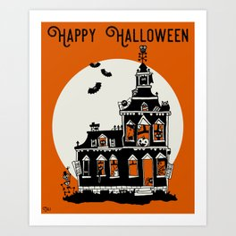Vintage Style Haunted House - Happy Halloween Art Print