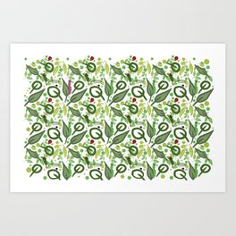 Nature friends - little bugs and leaves Art Print