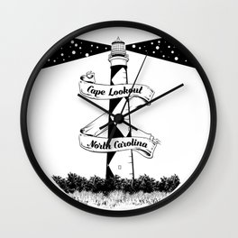 Cape Lookout Lighthouse Wall Clock