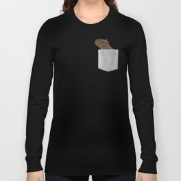 Capybara In Your Pocket- Funny Animal Peeking Long Sleeve T-shirt