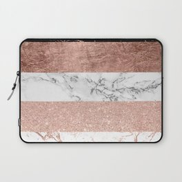 Modern chic color block rose gold marble stripes pattern Laptop Sleeve