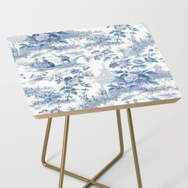 Powder Blue Chinoiserie Toile Side Table