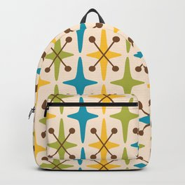 Mid Century Modern Abstract Star Pattern 441 Yellow Brown Turquoise Chartreuse Backpack