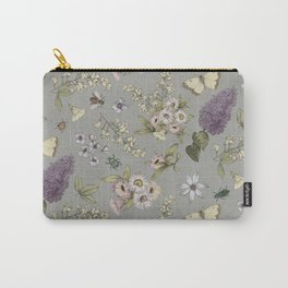 spring flowers with butterfly and beetles I Carry-All Pouch