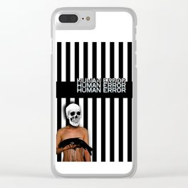 Human Error Skull Holding Fish Covered in Oil Clear iPhone Case