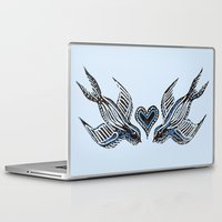 swallow Laptop & iPad Skins featuring Swallow love by Isobel Woodcock Illustration