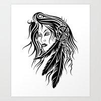 native american Art Prints featuring Native American by JonathanStephenHarris