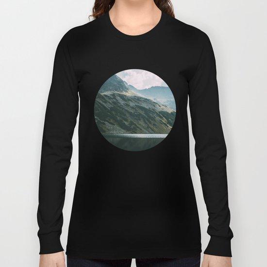 Moody Mountain Hill And Lake Long Sleeve T-shirt