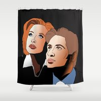 mulder Shower Curtains featuring Mulder & Scully: The Files of X by Mike Thomas Portraiture