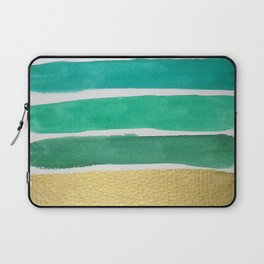 Gold and Green Stripes Laptop Sleeve