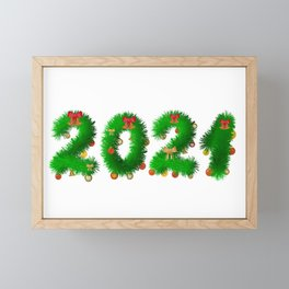 2021 numbers made of fir branches with Christmas balls Framed Mini Art Print
