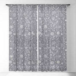 Chalkboard Flowers Sheer Curtain