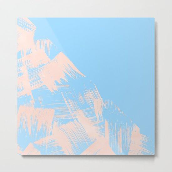 Paint Swipes Blue Raspberry and Sweet Peach Pink Metal Print