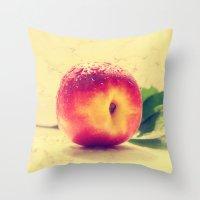 peach Throw Pillows featuring Peach  by Tanja Riedel