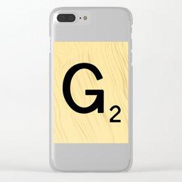 Scrabble G Decor, Scrabble Art, Large Scrabble Prints, Word Art, Accessories, Apparel, Home Decor Clear iPhone Case