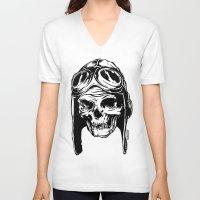 playstation V-neck T-shirts featuring 102 by ALLSKULL.NET