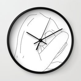 Nude figure line drawing illustration - Ellena Wall Clock