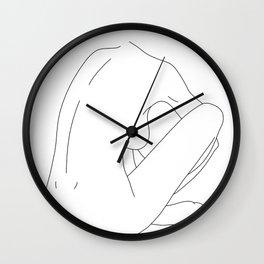 Nude figure line drawing illustration - Ellena Wall Clock