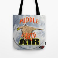 middle earth Tote Bags featuring darrell merrill nerd artist: middle earth air by Nerd Artist DM