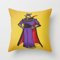 toy story Throw Pillows featuring Toy Story | Emperor Zurg by Brave Tiger Designs