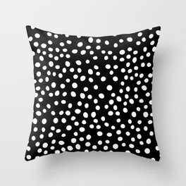 Black and white doodle dots Throw Pillow