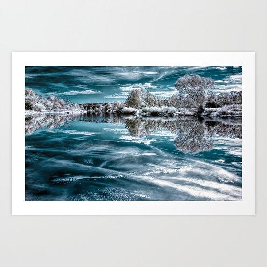 Frosty lake Art Print