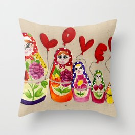 From Russia with Love Russian Dolls Throw Pillow