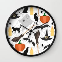 halloween Wall Clocks featuring Halloween by Julia Badeeva