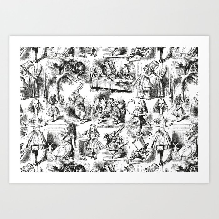 Alice In Wonderland Toile De Jouy Pattern Black And White Vintage Pattern Victorian Gothic Art Print By Eclecticatheart Society6
