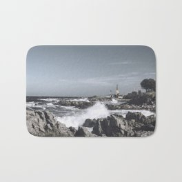 The wild sea- Wild waves o stormy day Bath Mat