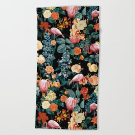 Floral and Flemingo II Pattern Beach Towel