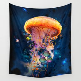 Electric Jellyish World Wall Tapestry