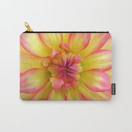 Pink and Yellow Dahlia Flower / Nature Macro Photography Carry-All Pouch