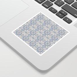 Vintage blue tiles pattern Sticker