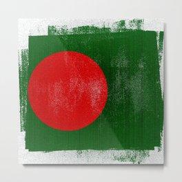 Bangladesh Distressed Halftone Denim Flag Metal Print