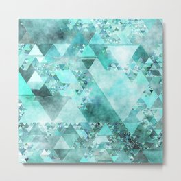 Triangles in aqua - Modern turquoise green blue triangle pattern Metal Print