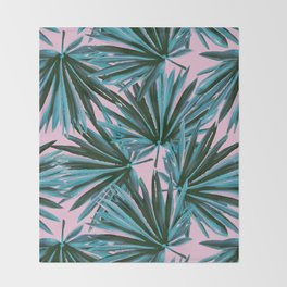 Tropical Palm Leaves in Botanical Green + Pink Throw Blanket