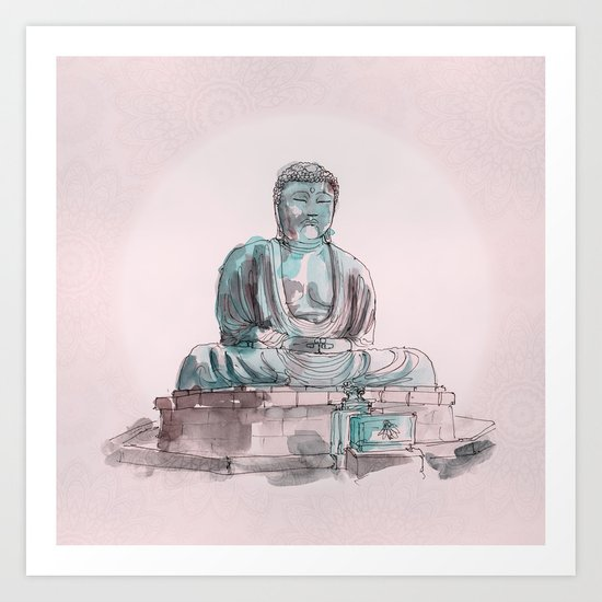 Peace and Harmony watercolor buddha pastel illustration Art Print