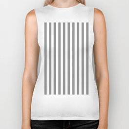 White Gray Stripes Pattern Biker Tank