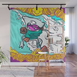Shark Robot Surfing Wall Mural