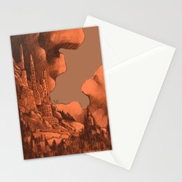 Daydreamers and Dreamwalkers - A mysterious city up on a cliff Stationery Cards