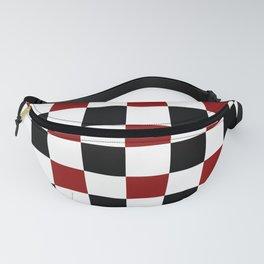 Black White Red Checker Fanny Pack