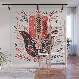 Hamsa Hand – Red & Black Palette Wall Mural